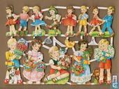7030: Kindjes met bloemen en pakjes Oudere poezieplaatjes