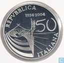 "Italië 5 euro 2004 (PROOF) ""50th Anniversary of Italian Television"""