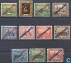 Briefmarken - Saargebiet - Landschaft-Serie mit Print Service-marken