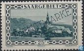 Briefmarken - Saargebiet - Tholey Abbey mit Aufdruck