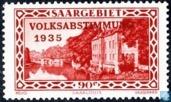 Timbres-poste - Sarre (1920-1935) - Caserne Saarlouis imprimé VOLKSABSTIMMUNG 1935