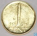 Nederland 1 cent 1971 verguld