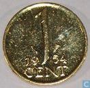 Nederland 1 cent 1954 verguld