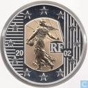 """Frankrijk 5 euro 2002 (PROOF) """"Bye bye le Franc"""""""