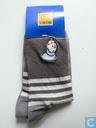 Hergé # Sokken met kuifje afbeeldingbruin en grijze voet maat 29/34