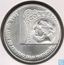 """Portugal 5 euro 2003 (zilver 500‰) """"150th anniversary of the first Portuguese stamp"""""""
