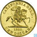Penningen / medailles - Lokaal geld - USA  10 dollars - California Gold, Baldwin & Co.   1850