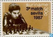 Postzegels - Suriname - 3e partij WK Kasparov/Karpov