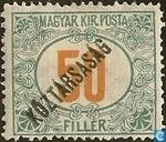 Postzegels - Hongarije - Cijfer met opdruk