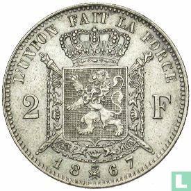Belgique - Belgique 2 francs 1867 (avec croix sur couronne)