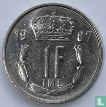 Luxembourg 1 franc 1987 - Image 1