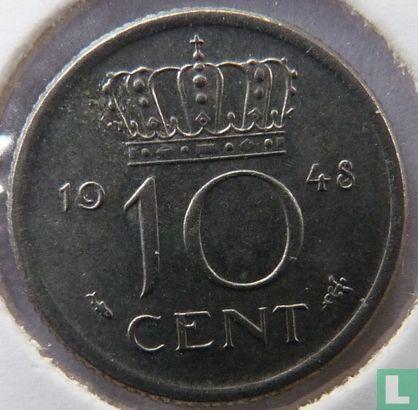 Niederlande - Niederlande 10 Cent 1948 (Variaty large pearls in crown)