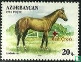 Azerbaijan - Horses, with overprint