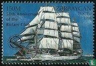 Azerbaijan - Sailing ships, with overprint