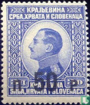 König Alexander I. von 1924 mit Aufdruck Briefmarken