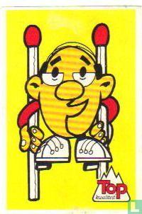 afb: Mannetje met lucifers als stelten.