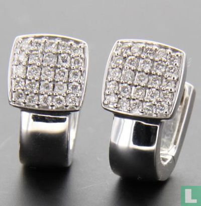 Witgouden Oorstekers met diamant - Afbeelding 1