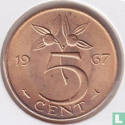 Niederlande - Niederlande 5 Cent 1967 (Blätter von der Kante)