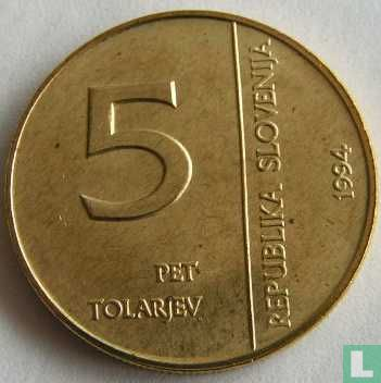 "Slovenia 5 tolarjev 1994 ""50th Anniversary or Monetary Institute of Slovenia"" - Image 1"