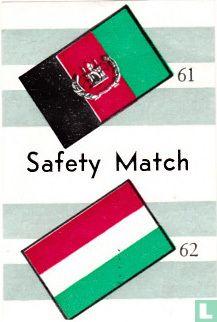 vlaggen van Afghanistan en Hongarije - Safety Match