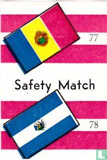 vlaggen van Roemenië en El Salvador - Safety Match