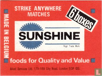 Sunshine strike anywhere matches 6 boxes