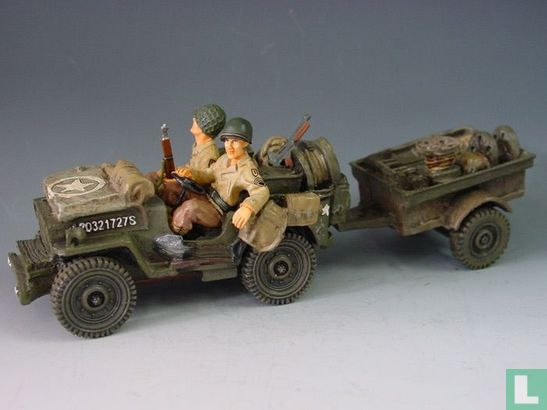 US Jeep and Trailer w/ 2 x 1st Infantry - Afbeelding 1