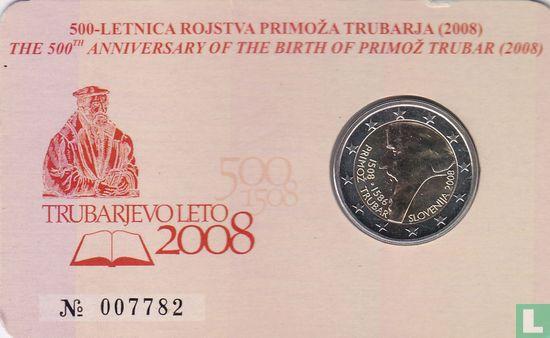 """Slovenia 2 euro 2008 (coincard) """"500th anniversary Birth of Primoz Trubar"""" - Image 1"""