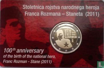 "Slovenia 2 euro 2011 (coincard) ""100th anniversary Birth of the national hero Franc Rozman named Stane"" - Image 1"