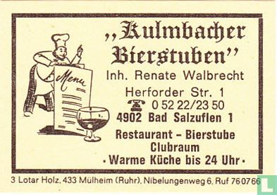 """Kulmbacher Bierstuben"" - Renate Walbrecht"