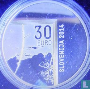 """Slovenia 30 euro 2014 (PROOF) """"200th anniversary of the birth of the photographer Janez Puhar"""" - Image 1"""