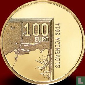 """Slovenia 100 euro 2014 (PROOF) """"200th anniversary of the birth of the photographer Janez Puhar"""" - Image 1"""