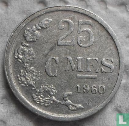 Luxembourg 25 centimes 1960 (medal alignment) - Image 1