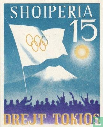 Albanien [ALB] - Olympische Flagge und Fuji-Vulkan