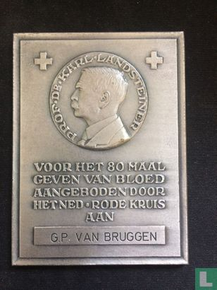 Medaille: onderscheidingen - Netherlands - Dr. Karl Landsteiner - 80 Red Cross Blood Donations