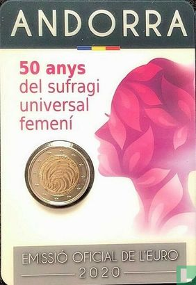 "Andorra - Andorra 2 Euro 2020 (Coincard - Govern d'Andorra) ""50 years of women's universal suffrage"""