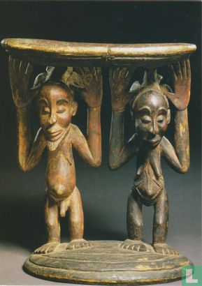 Luba - Stool supported by two figures