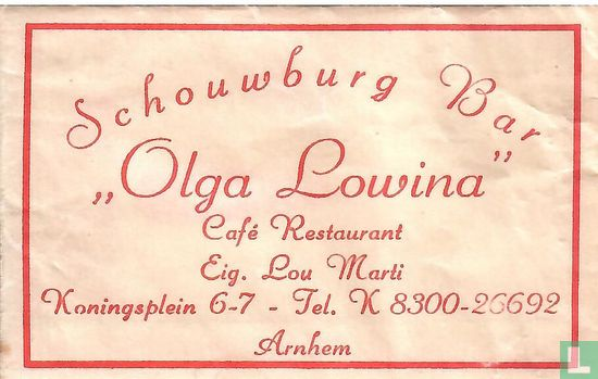"Bag - Schouwburg Bar ""Olga Lowina"" Café Restaurant"