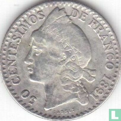 Dominicaanse Republiek 50 centesimos 1891 - Afbeelding 1