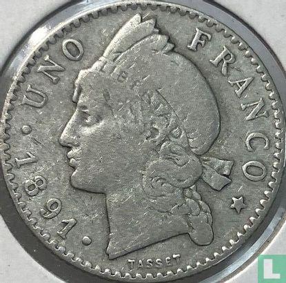 Dominicaanse Republiek 1 franco 1891 - Afbeelding 1