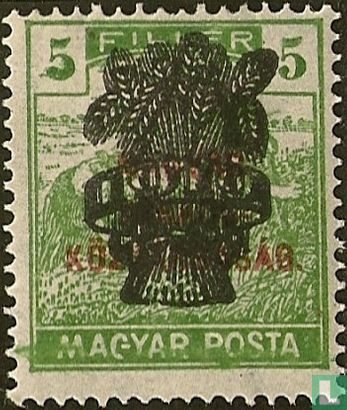 Hungary - Wheat harvesting with a double print