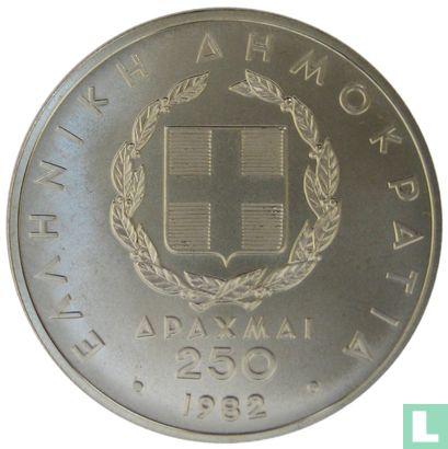 """Grèce - Grèce 250 drachmai 1982 """"Pan-European Games in Athens - 1896 discus thrower"""""""