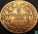 Frankrijk (France) - Frankrijk 5 francs 1857 (goud)