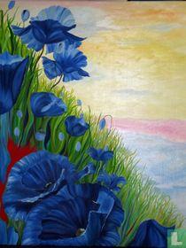 Klaprozenlandschap blauw