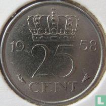 Nederland 25 cent 1958
