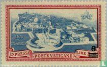 Paus Pius XII met opdruk