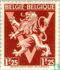 """Heraldische leeuw op V, """"BELGIË BELGIQUE"""""""