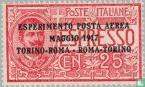 Luftpost Versuchungspostflug Turin-Rom