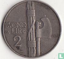 Italien 2 Lire 1924