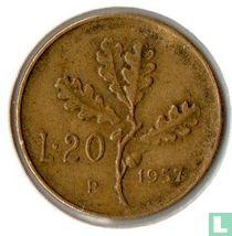 Italië 20 lire 1957 (serifed 7)